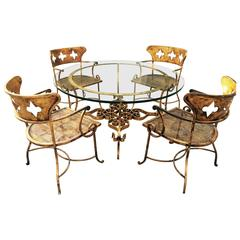 Indoor Outdoor Italian Gilt Iron Dining Set