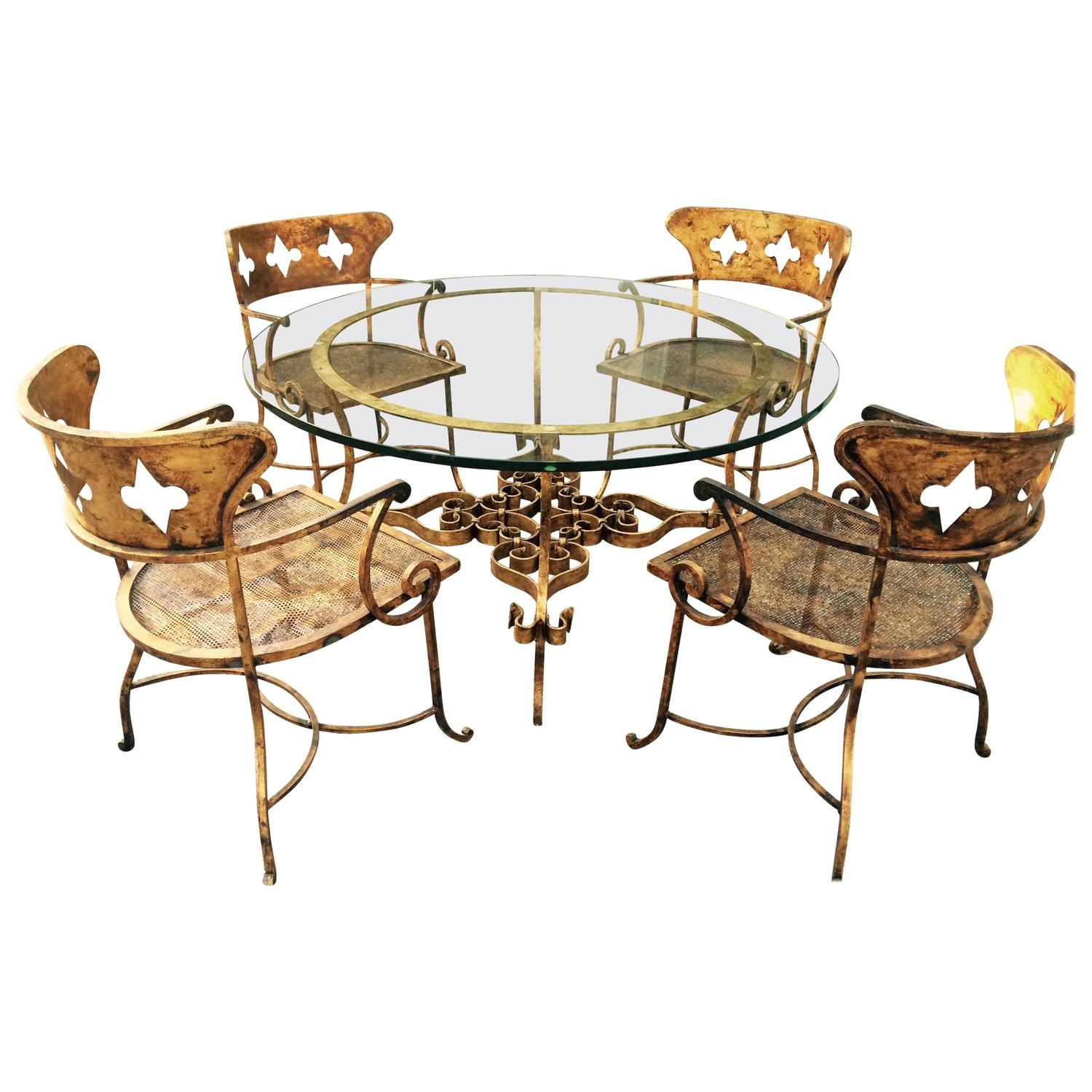 Sale On Dining Sets: Indoor Outdoor Italian Gilt Iron Dining Set For Sale At