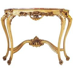 Gold Gilt Rococo Style Console with Serpentine Marble Louis