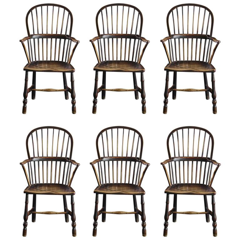 Fine Set Of Six Early 19th Century Windsor Armchairs At