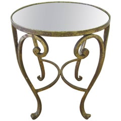 Gold Gilt and Glass Mirror Top Side or Drinks Table