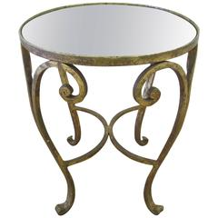Gold Gilt Bronze and Glass Mirror Side Table