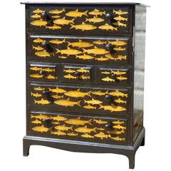 Tall Decoupage Dresser with River Fish
