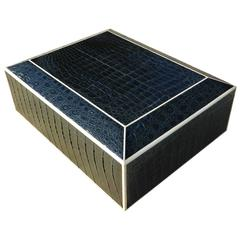 Top quality Large Navy Blue Crocodile Humidor Box with Bone Inlay