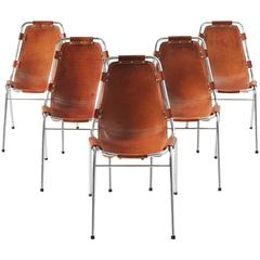 Charlotte Perriand Set of Five 'Les Arcs' Chairs in Cognac Leather