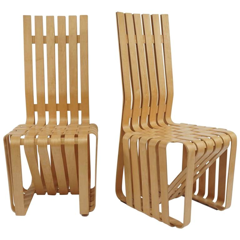 "Pair of Frank Gehry ""High Sticking"" Chairs For Sale"