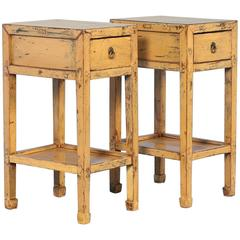 Pair of Antique Yellow End Tables from China, circa 1890