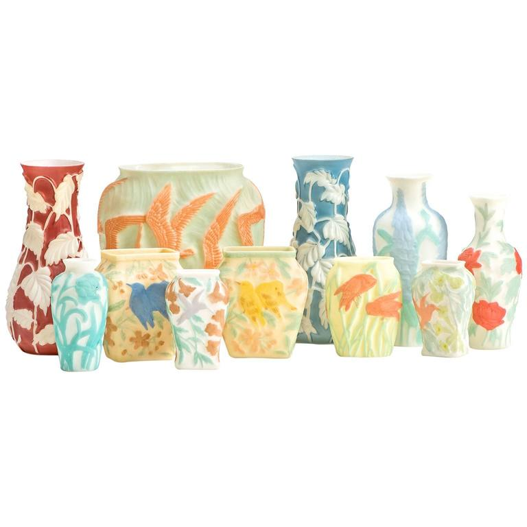 Art Deco Grouping Of 11 Consolidated Phoenix Glass Vases For Sale At