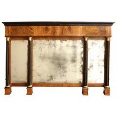 Early 19th Century Continental, Walnut and Ebonized Three-Panel Mirror