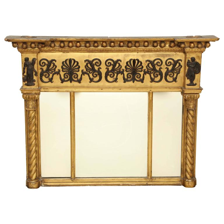 Early 19th Century English Regency, Neoclassical Giltwood Mirror