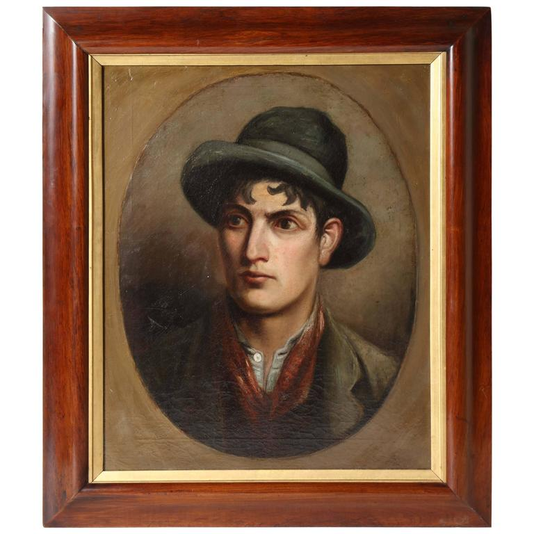 19th Century Irish, Oil on Canvas of a Young Man