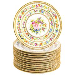 12 Hand-Painted Limoges Service Plates by Charles Ahrenfeldt