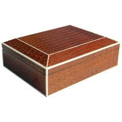 Beautiful Large Brown Crocodile Box with Bone Inlay