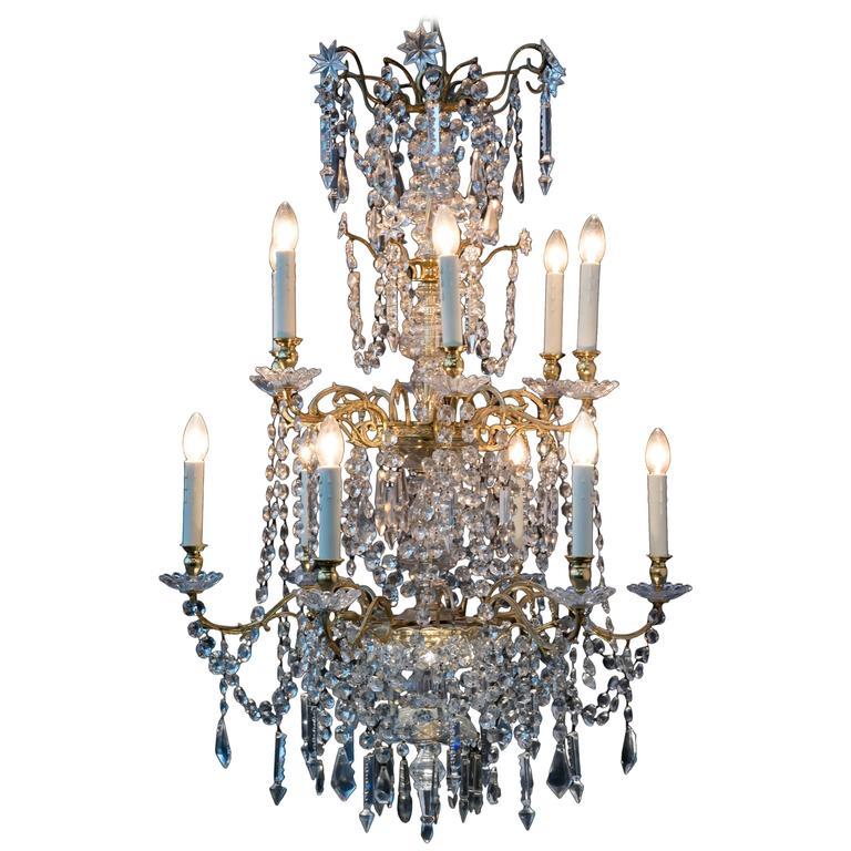 Antique 18th Century Gilded Bronze Chandelier From France