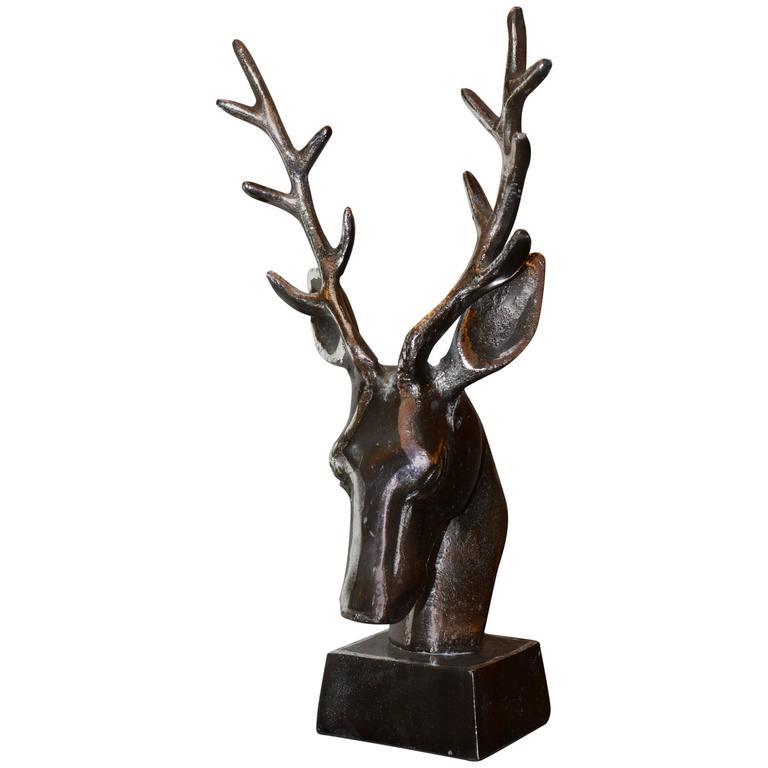 Trophy Dear Hunter in Iron on Base For Sale
