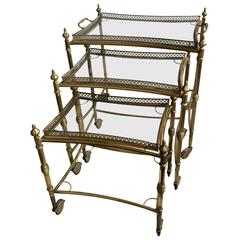 Rare Nest of Vintage French Brass Drinks Trolleys / Bar Carts