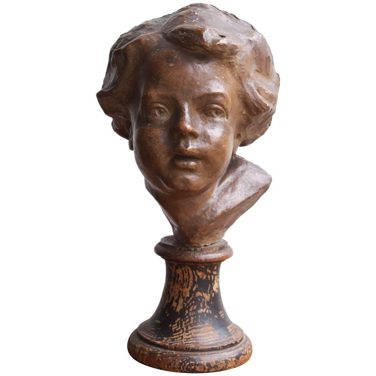 "19th Century French School Terra Cotta ""Young Childs Face"" For Sale"