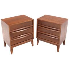 Pair of three drawers  Walnut Nightstands or End Tables Stands