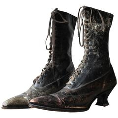 Pair of Ladies Victorian High-Top Leather Boots, circa 1890