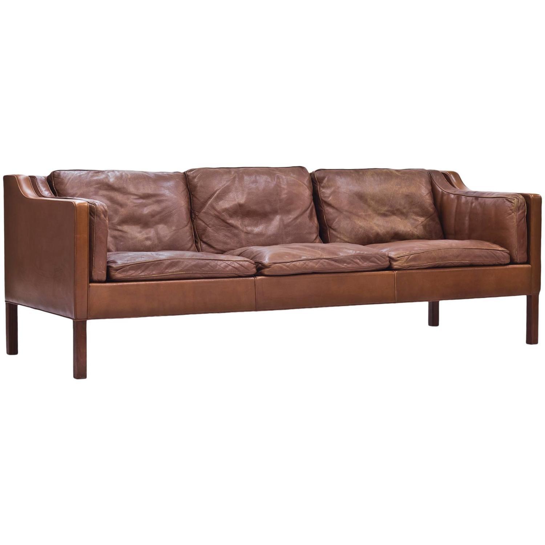 brown leather sofa by b rge mogensen at 1stdibs. Black Bedroom Furniture Sets. Home Design Ideas