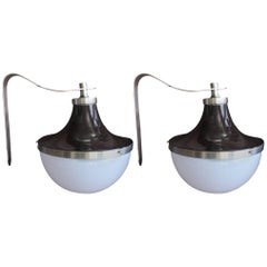 Pair of Sergio Mazza for Artemide Brown Enameled Wall Lights