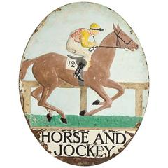 "Painted Copper Pub Sign ""Horse and Jockey"""