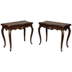 Exhibition Quality Pair of Rosewood and Bronze Card Tables