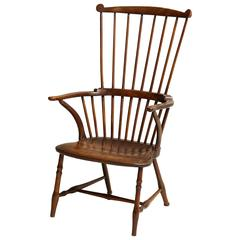 18th Century Fruitwood Comb Back Windsor Armchair