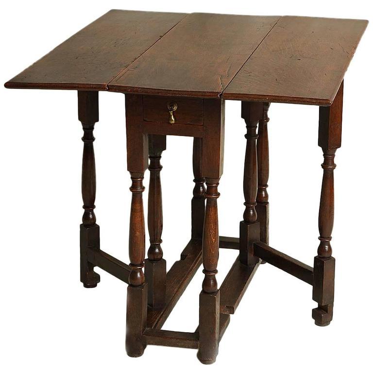 Unusual 18th Century Square Oak Gateleg Table