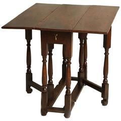 Unusual 18th Century Square Oak Gateleg Table