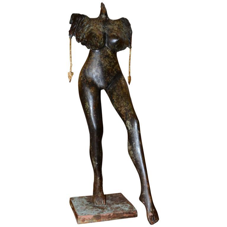 Sculpture Woman with Cock Head in Bronze