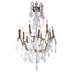 19th Century French Louis XV Bronze Cage and Crystal Twelve-Arm Chandelier