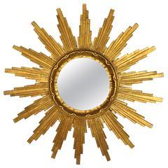 Mid-Century Modernist Gold Leaf Giltwood Sunburst Mirror, Spain 1960s