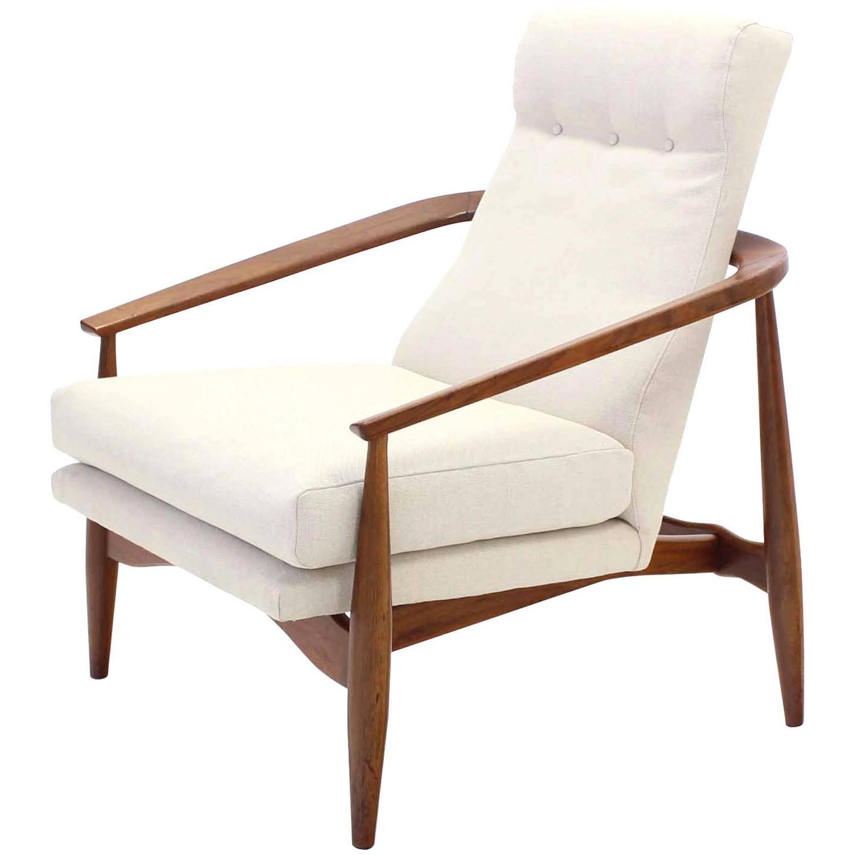 Danish Modern Walnut Lounge Chair New Upholstery at 1stdibs