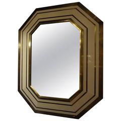 French Mid Century Modern Octagonal Mirror In Brass And Vanilla Lacquer