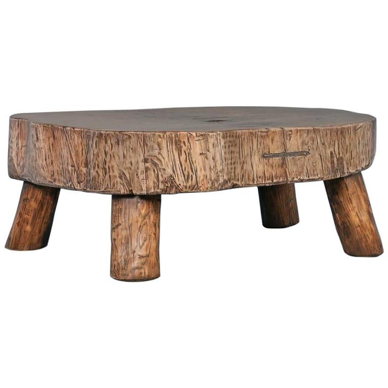 Adirondack Rustic Free Edge Slab Table For Sale At 1stdibs: Rustic Antique Coffee Table Made From Large Slab Of Wood
