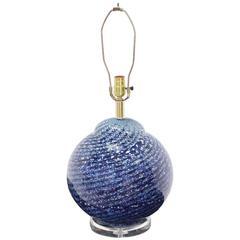 Large Blue Art Glass Globe Table Lamp