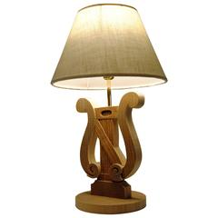 Musical Wood Table Lamp by Michelangeli, Italy