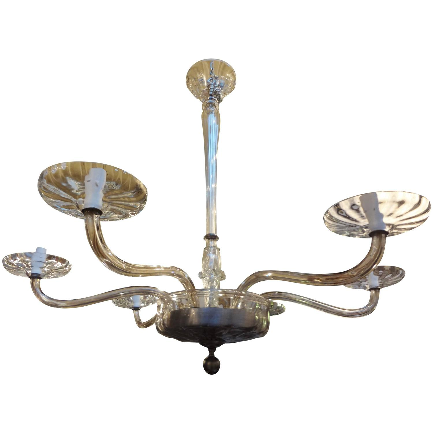 Venini Inspired Clear Glass Murano Chandelier For Sale At