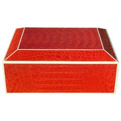 Exqusite Red Crocodile Humidor Box with Bone Inlay