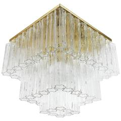 Huge Kalmar 'Penta' Flush Mount Chandelier, Brass Venini Tronchi Glass, 1970