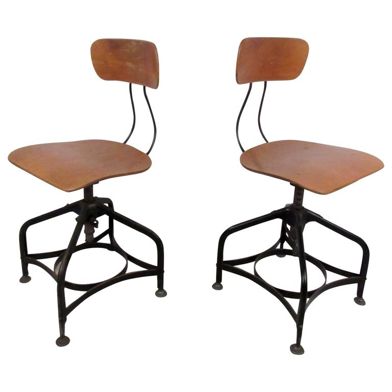 Pair Of Draftsman Swivel Stools By Toledo For Sale At 1stdibs