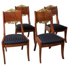 Set of Four Russian Mahogany Parcel-Gilt Side Chairs