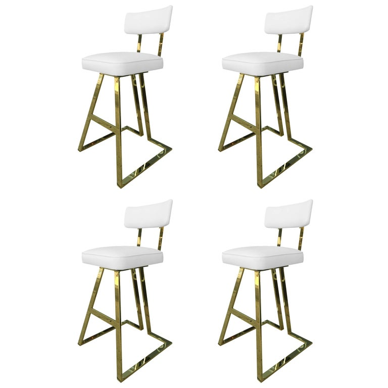 Set of Four Brass Barstools by Charles Hollis Jones For Sale