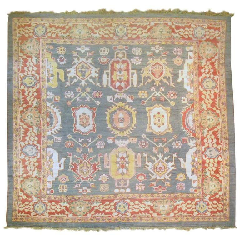 Green Turkish Square Oushak Rug For Sale At 1stdibs