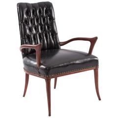 Sculptural Mahogany and Upholstered Armchair