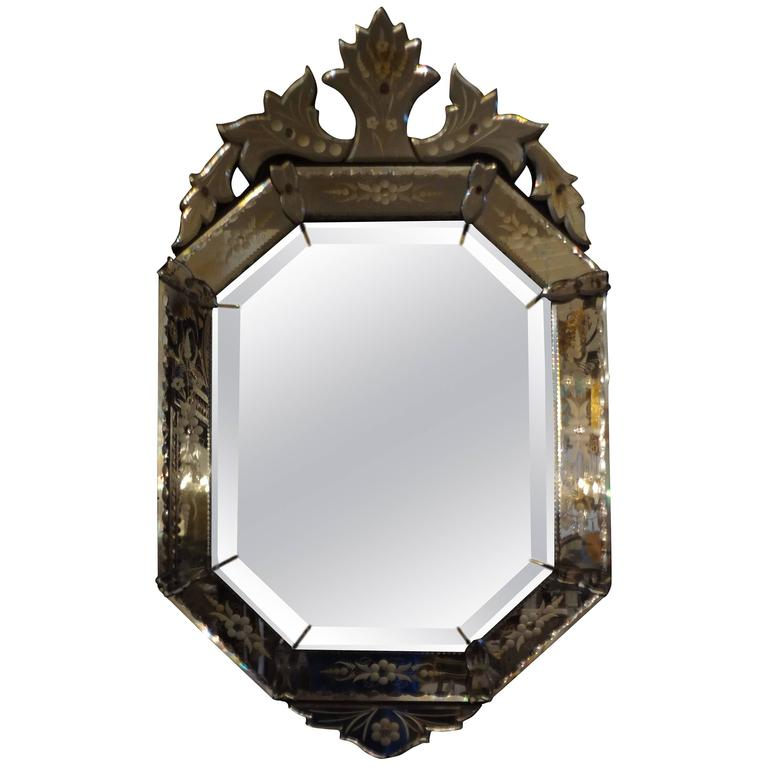 Venetian glass etched and beveled octagonal mirror for for Octagon beveled mirror