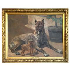 """French Painting of Two Dogs """"Lord Et Mignon"""" Great Dane & a Yorkshire Terrier"""