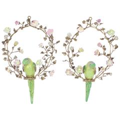 Inspired Opposing Pair of French Porcelain Parrots Wall-Mounted