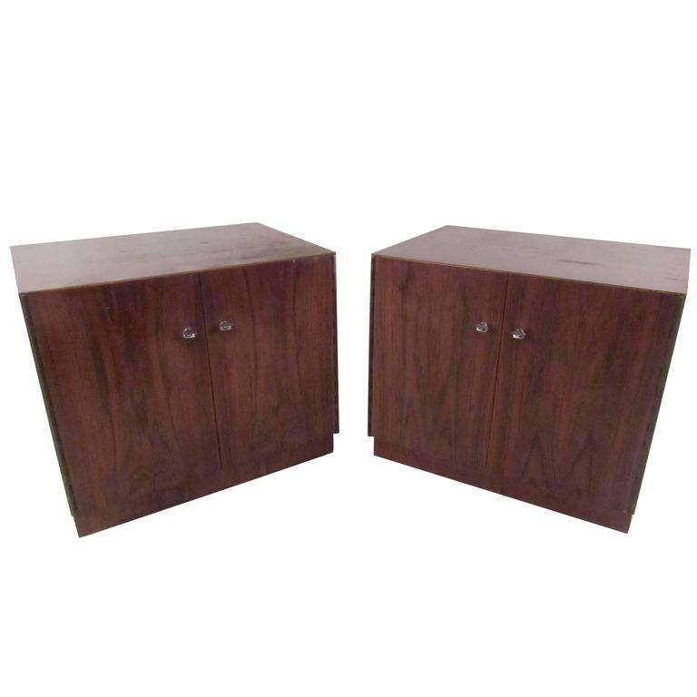 This Pair Of Ious Cabinet Door Nightstands Features A Beautiful Vintage Wood Finish Chrome